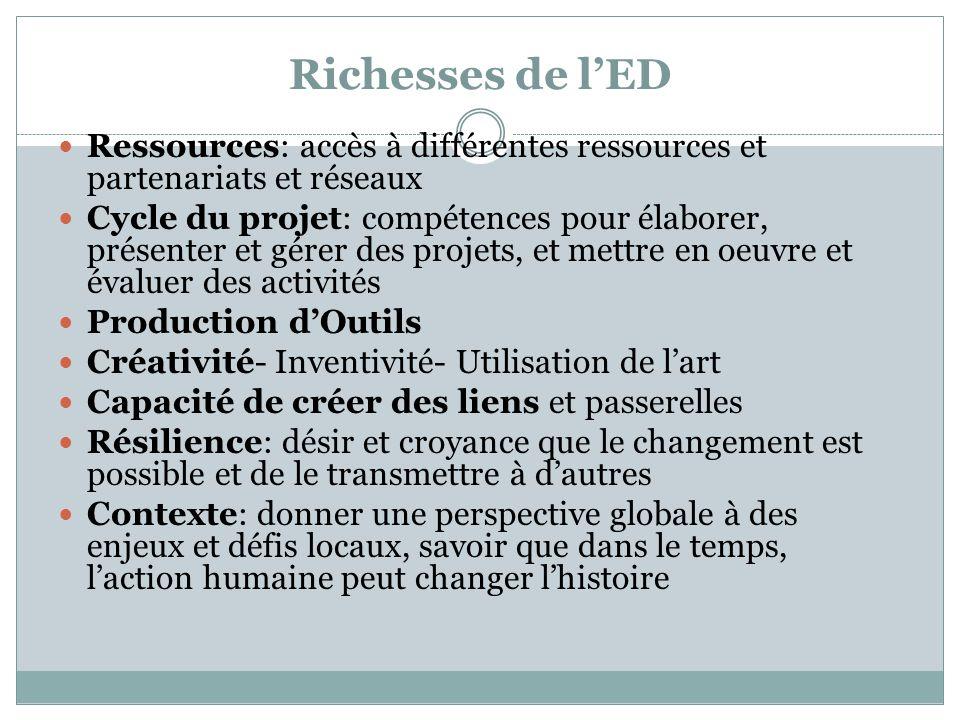 Richesses de l'ED Ressources: accès à différentes ressources et partenariats et réseaux.