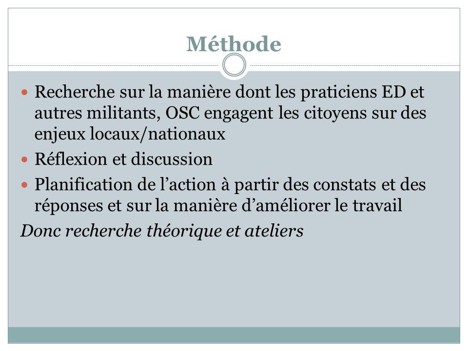 Méthode Recherche sur la manière dont les praticiens ED et autres militants, OSC engagent les citoyens sur des enjeux locaux/nationaux.