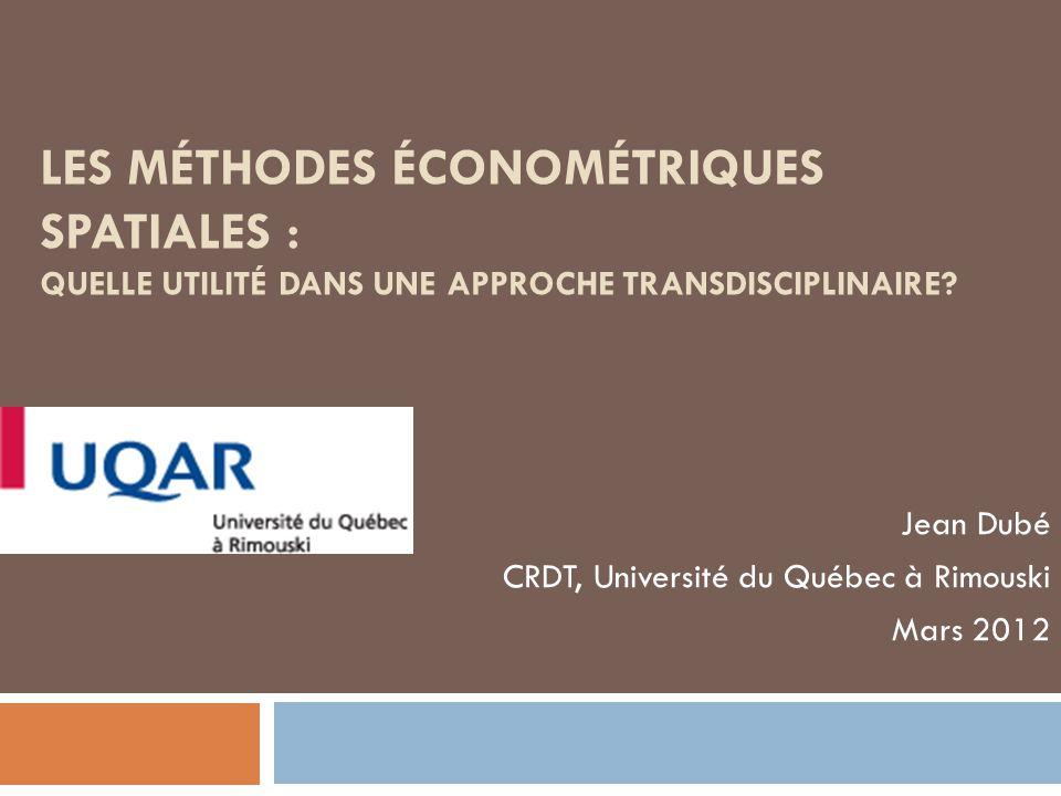 Jean Dubé CRDT, Université du Québec à Rimouski Mars 2012