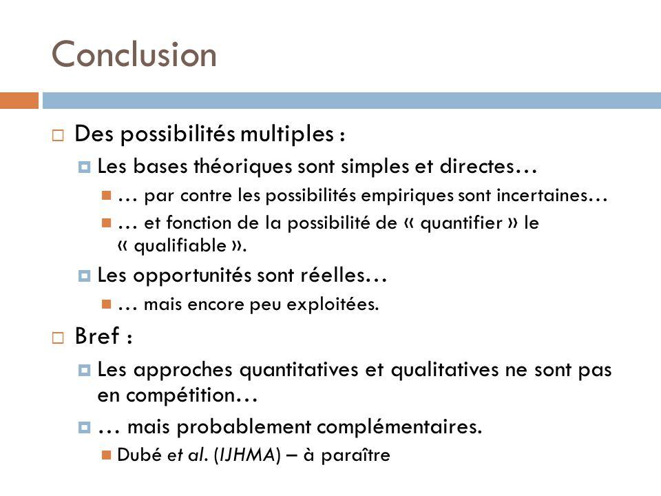Conclusion Des possibilités multiples : Bref :
