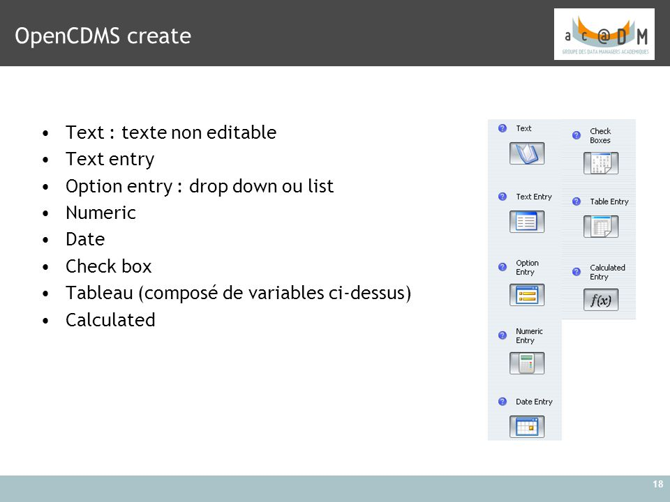 OpenCDMS create Text : texte non editable Text entry