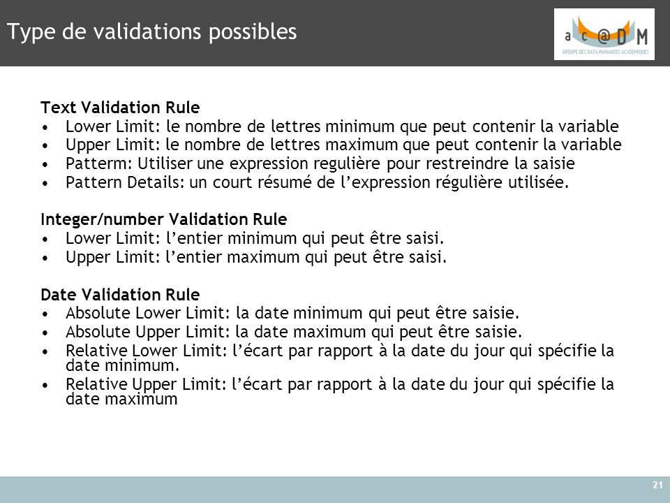 Type de validations possibles