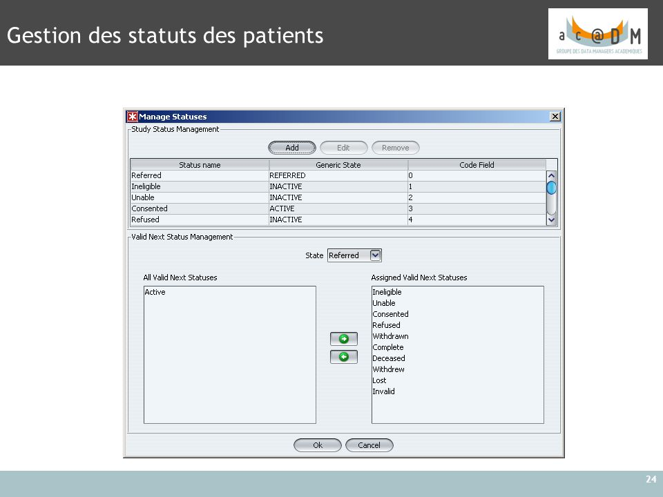 Gestion des statuts des patients