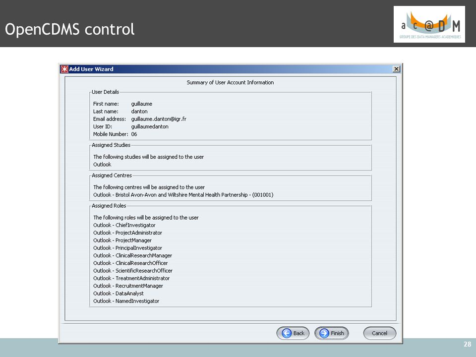 OpenCDMS control