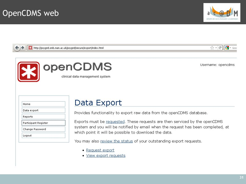 OpenCDMS web
