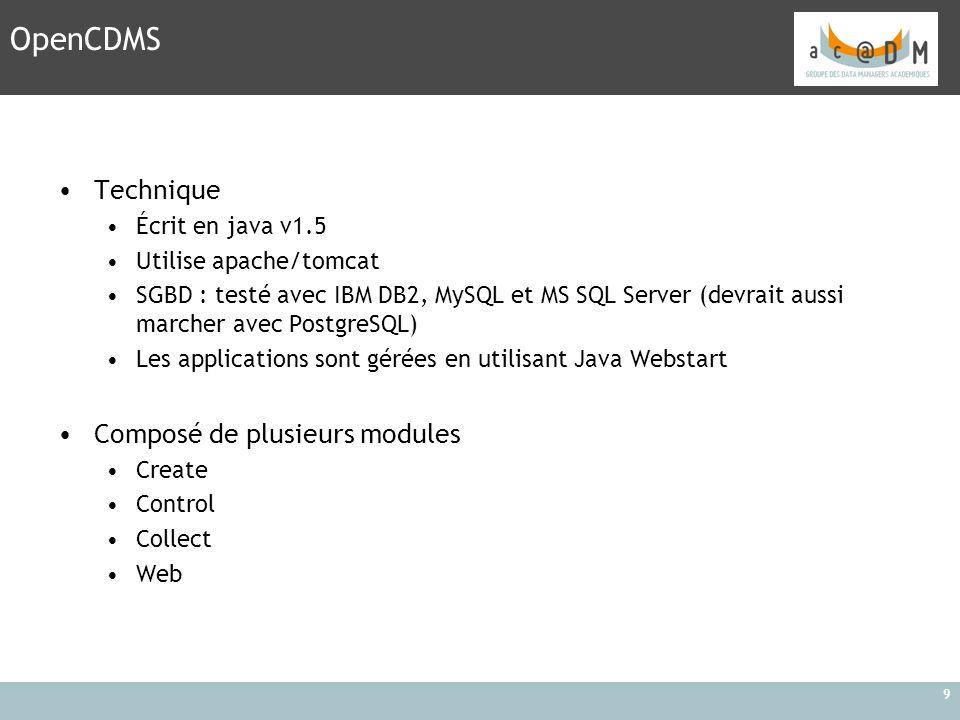 OpenCDMS Technique Composé de plusieurs modules Écrit en java v1.5