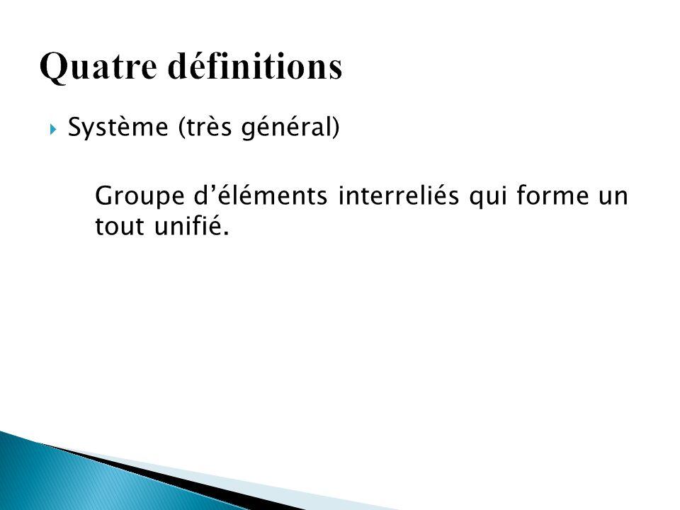Quatre définitions Système (très général)