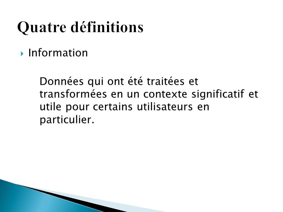 Quatre définitions Information