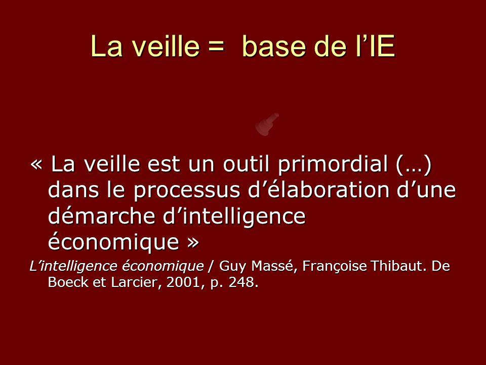 La veille = base de l'IE « La veille est un outil primordial (…) dans le processus d'élaboration d'une démarche d'intelligence économique »