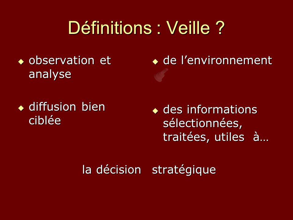 Définitions : Veille observation et analyse diffusion bien ciblée