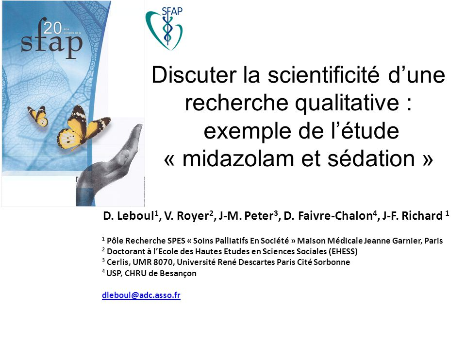 D. Leboul1, V. Royer2, J-M. Peter3, D. Faivre-Chalon4, J-F. Richard 1