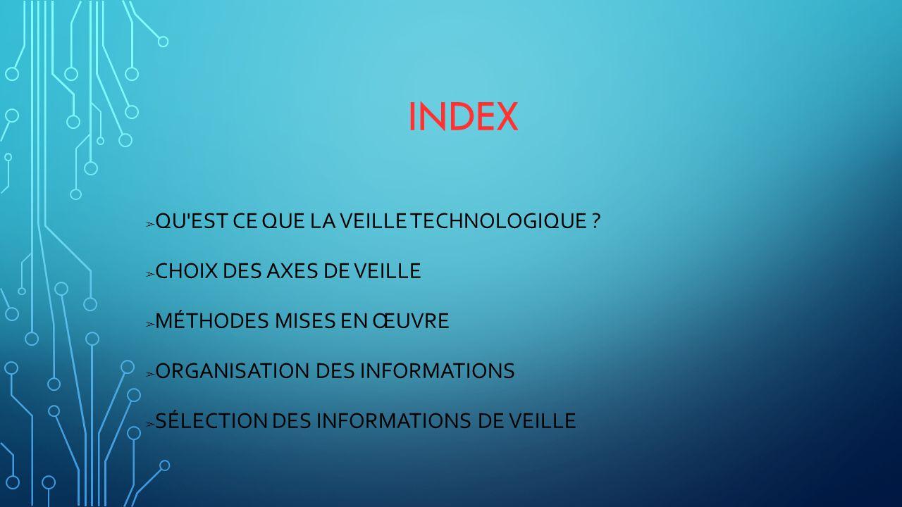 Index Qu est ce que la veille technologique Choix des axes de veille