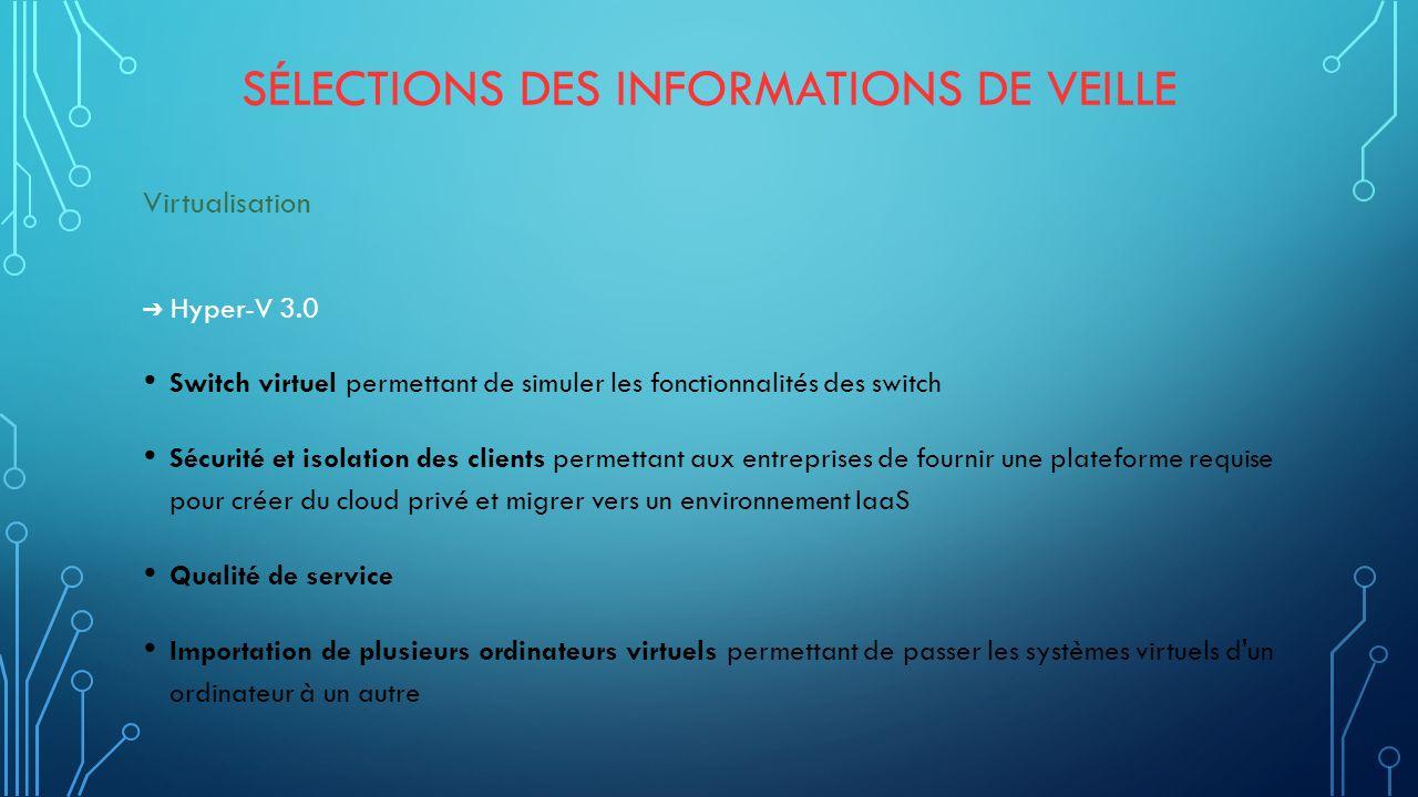Sélections des informations de veille