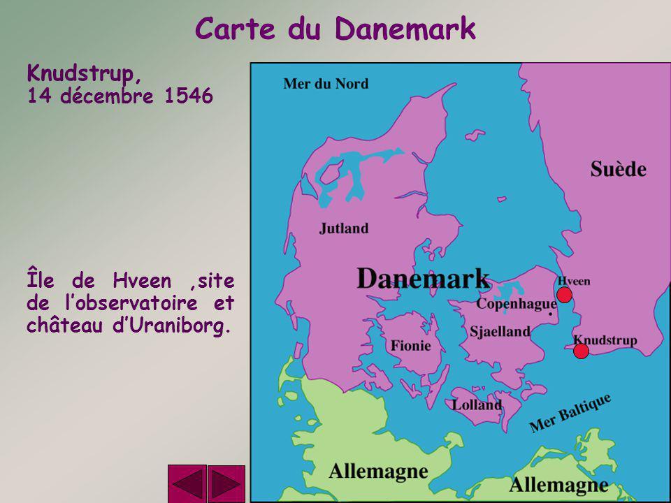 Carte du Danemark Knudstrup, 14 décembre 1546