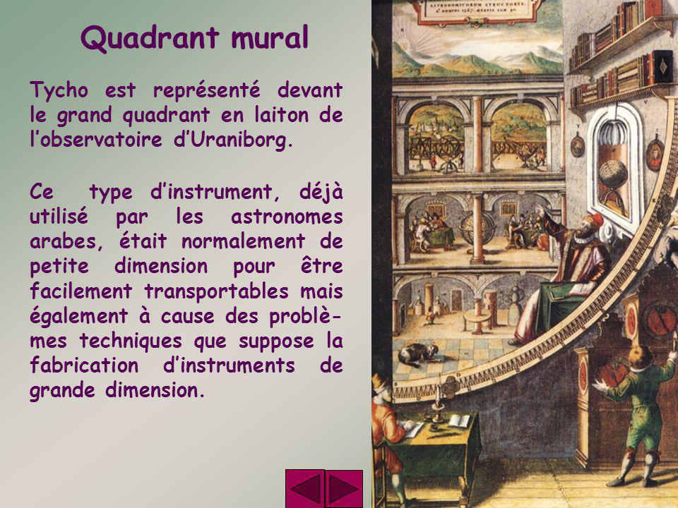Quadrant mural Tycho est représenté devant le grand quadrant en laiton de l'observatoire d'Uraniborg.