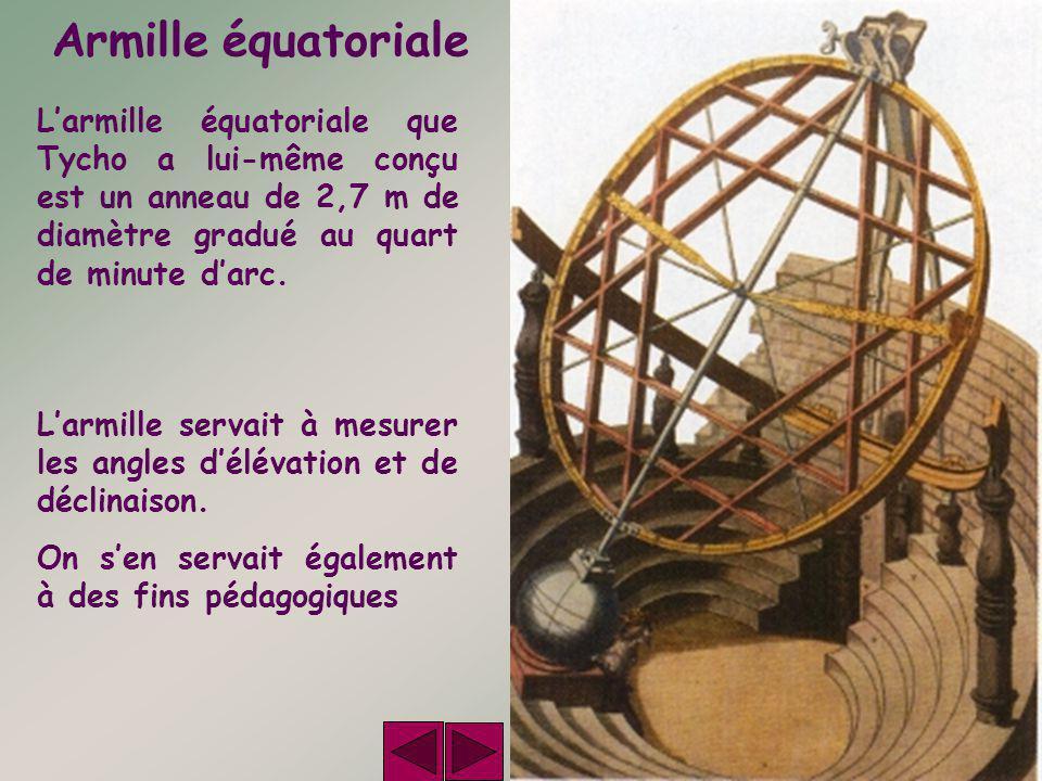 Armille équatoriale L'armille équatoriale que Tycho a lui-même conçu est un anneau de 2,7 m de diamètre gradué au quart de minute d'arc.