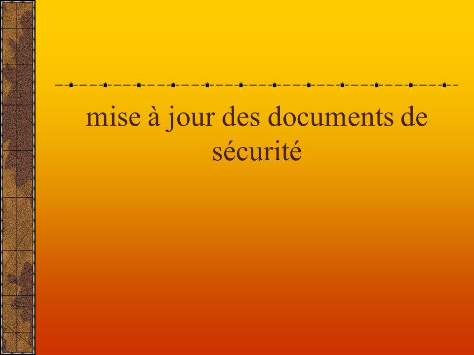mise à jour des documents de sécurité