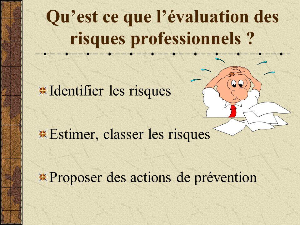 Qu'est ce que l'évaluation des risques professionnels