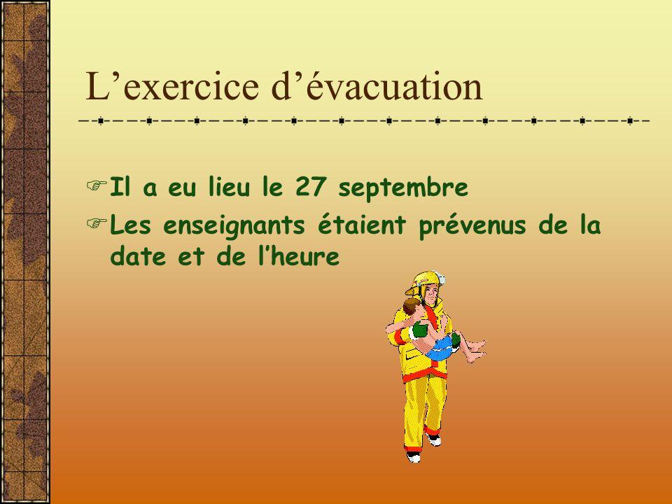 L'exercice d'évacuation