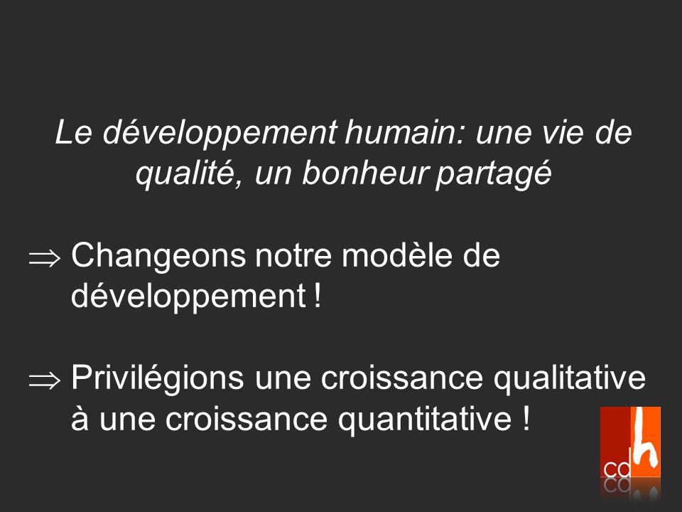 Le développement humain: une vie de qualité, un bonheur partagé