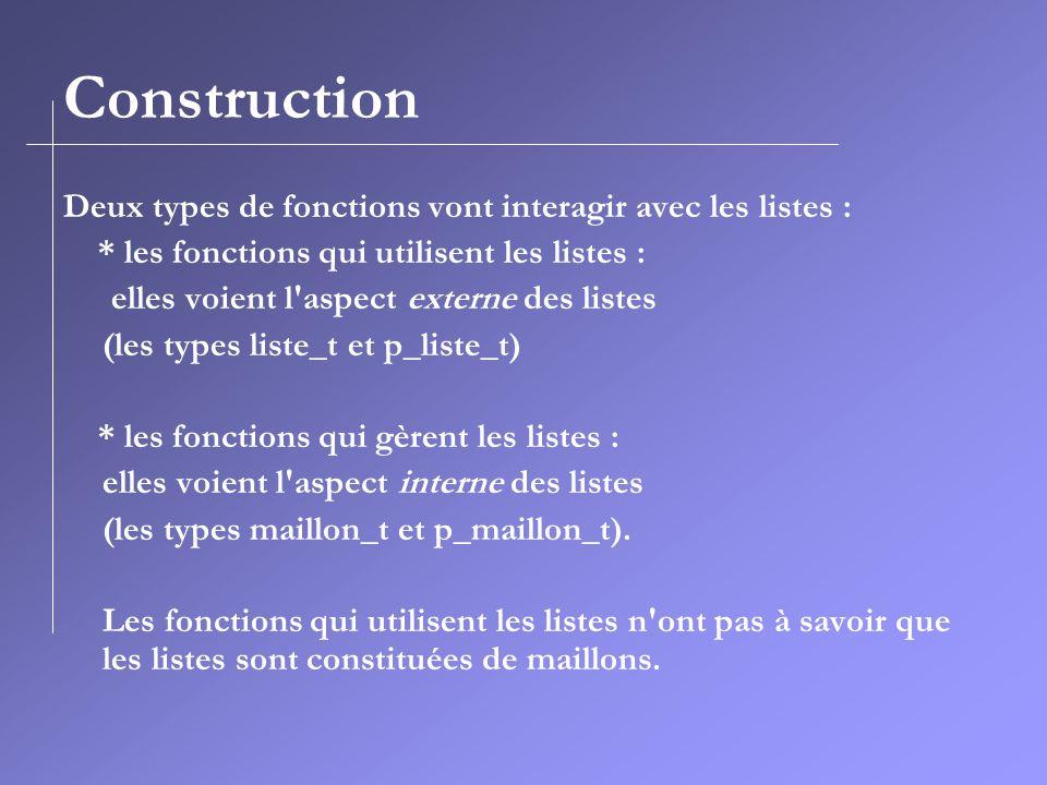 Construction Deux types de fonctions vont interagir avec les listes :