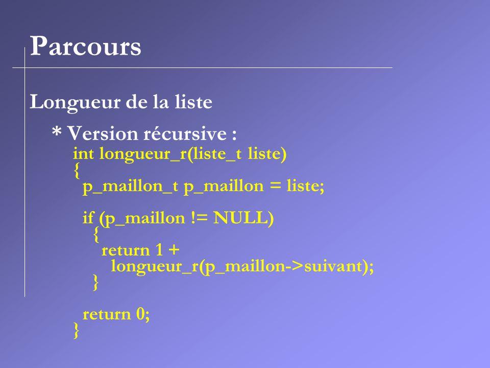 Parcours Longueur de la liste * Version récursive :