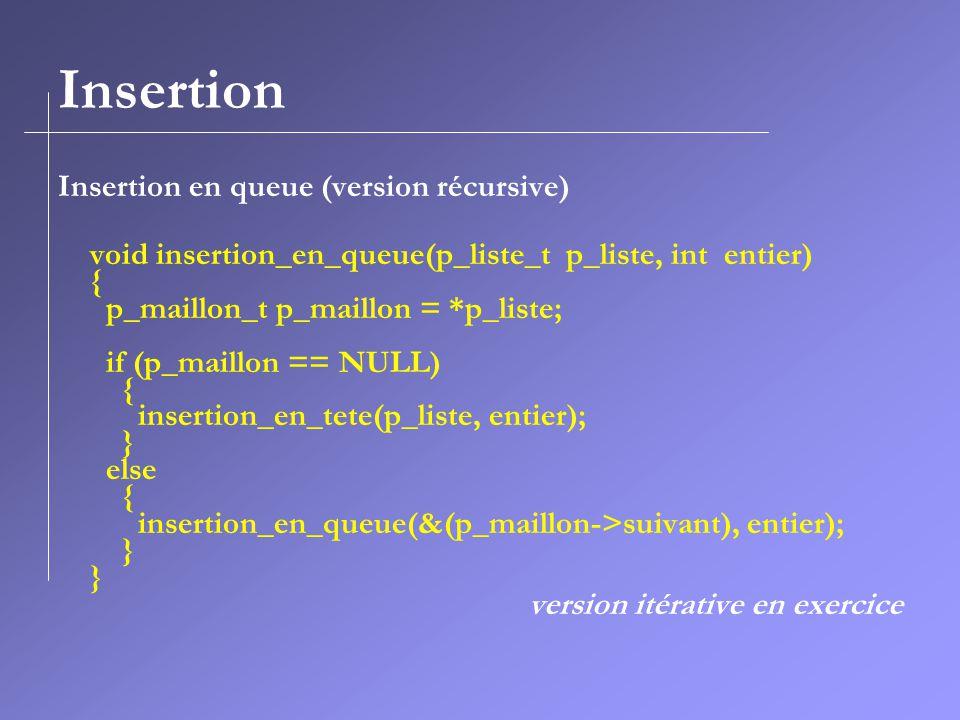 Insertion Insertion en queue (version récursive)