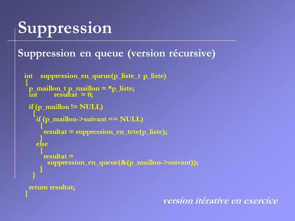 Suppression Suppression en queue (version récursive)
