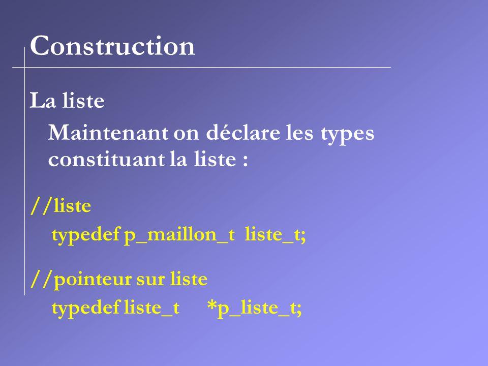 Construction La liste. Maintenant on déclare les types constituant la liste : //liste. typedef p_maillon_t liste_t;