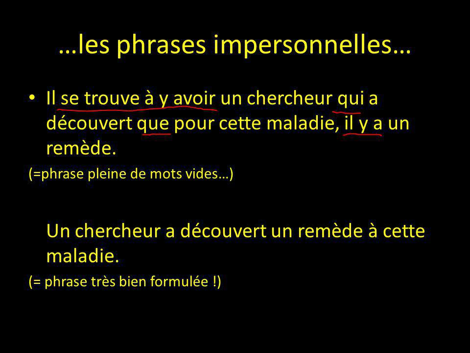 …les phrases impersonnelles…