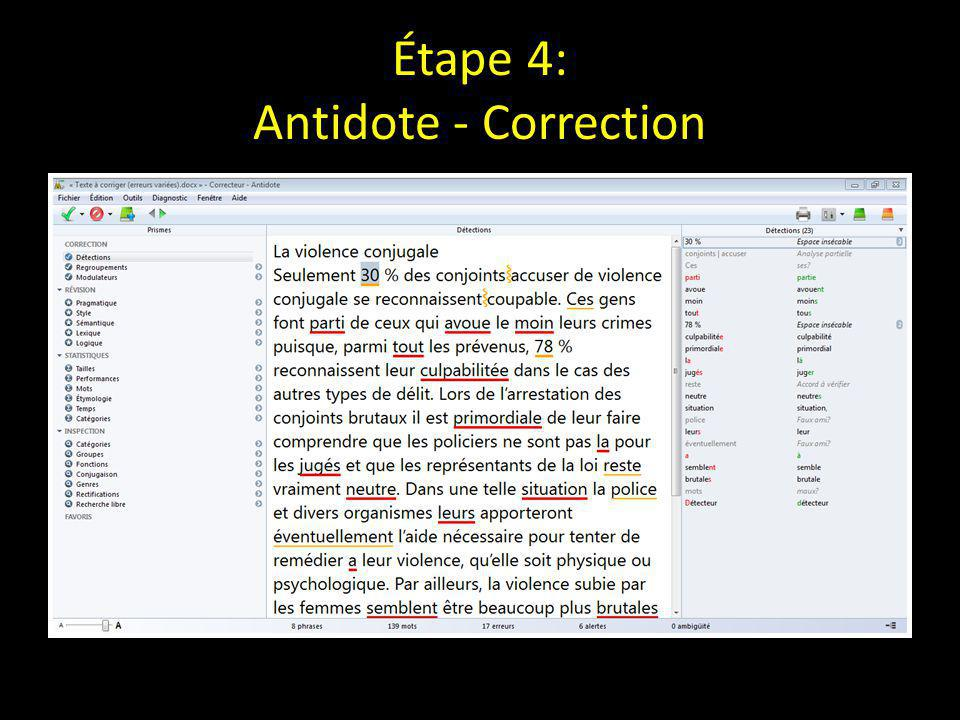 Étape 4: Antidote - Correction