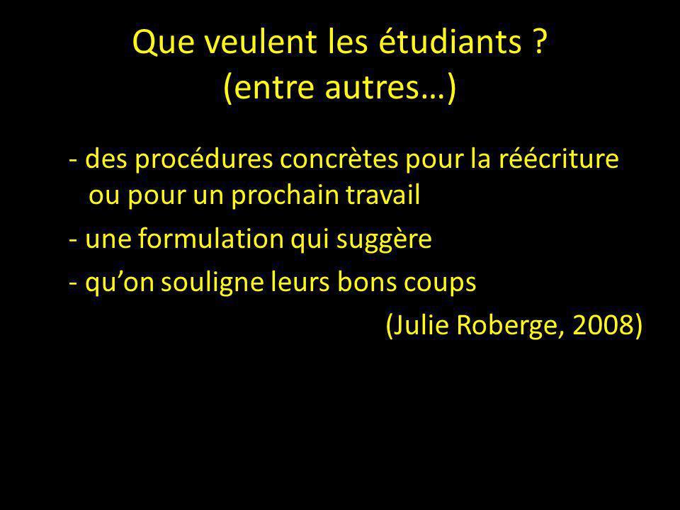 Que veulent les étudiants (entre autres…)