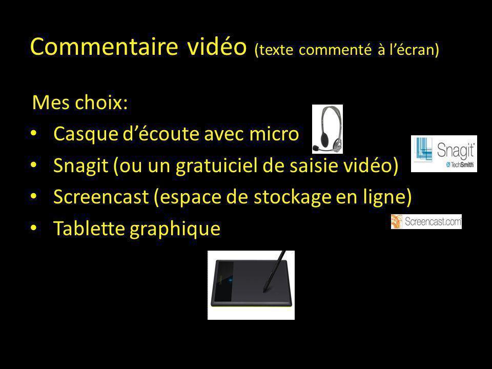 Commentaire vidéo (texte commenté à l'écran)