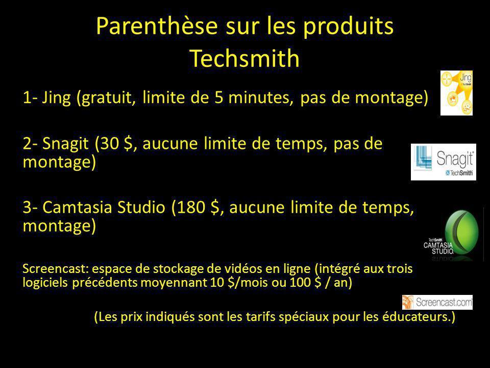 Parenthèse sur les produits Techsmith
