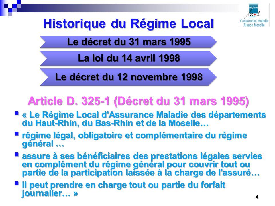 Historique du Régime Local