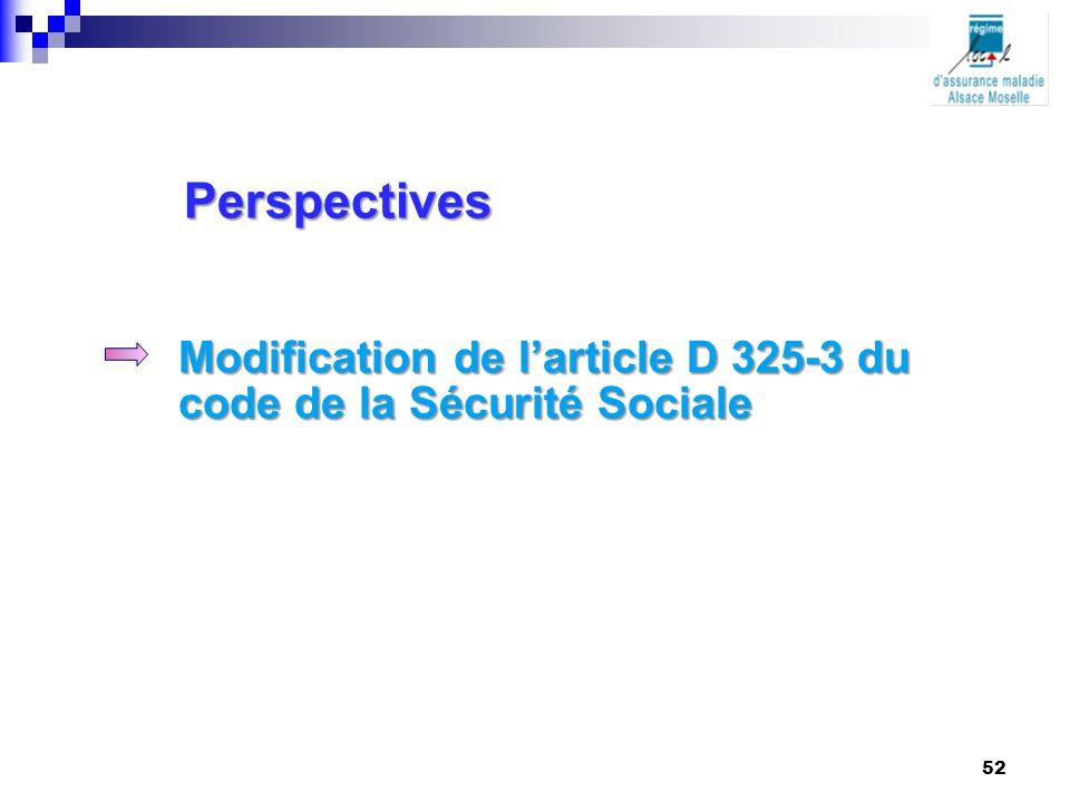 Perspectives Modification de l'article D 325-3 du code de la Sécurité Sociale