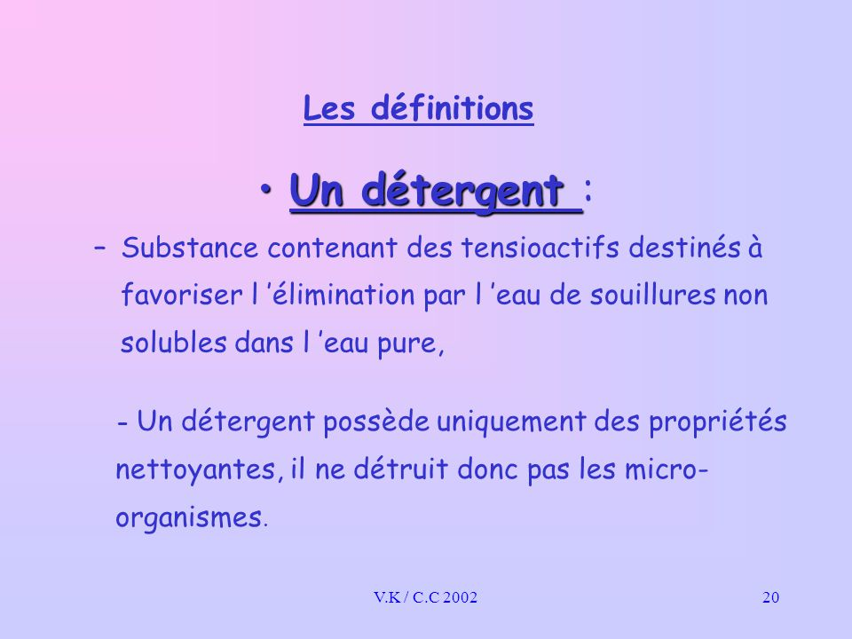 Un détergent : Les définitions