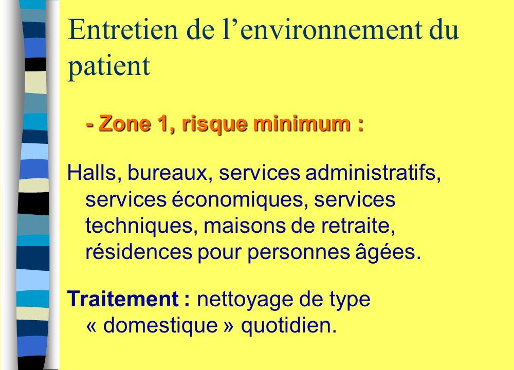 Entretien de l'environnement du patient