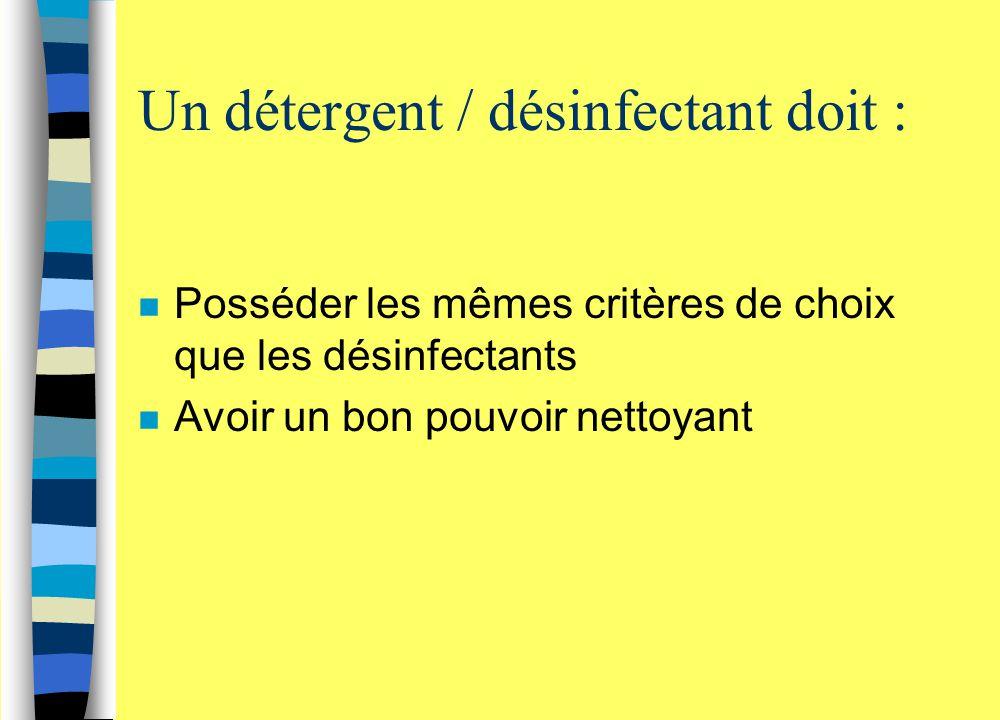 Un détergent / désinfectant doit :