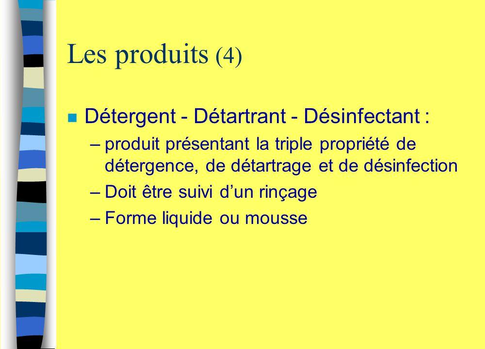 Les produits (4) Détergent - Détartrant - Désinfectant :