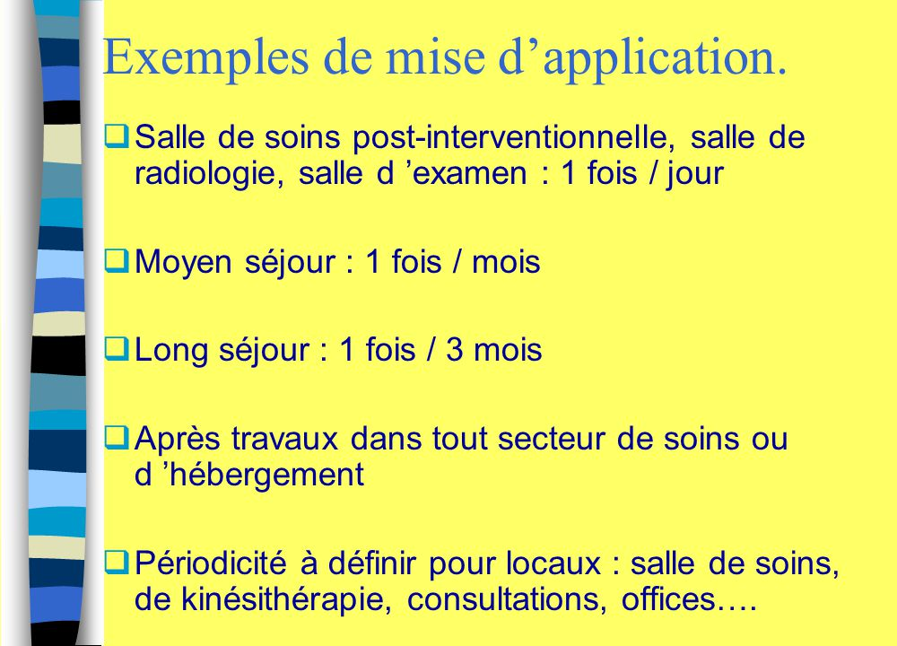 Exemples de mise d'application.