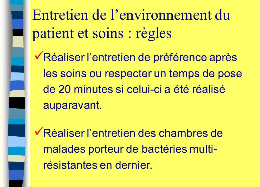 Entretien de l'environnement du patient et soins : règles