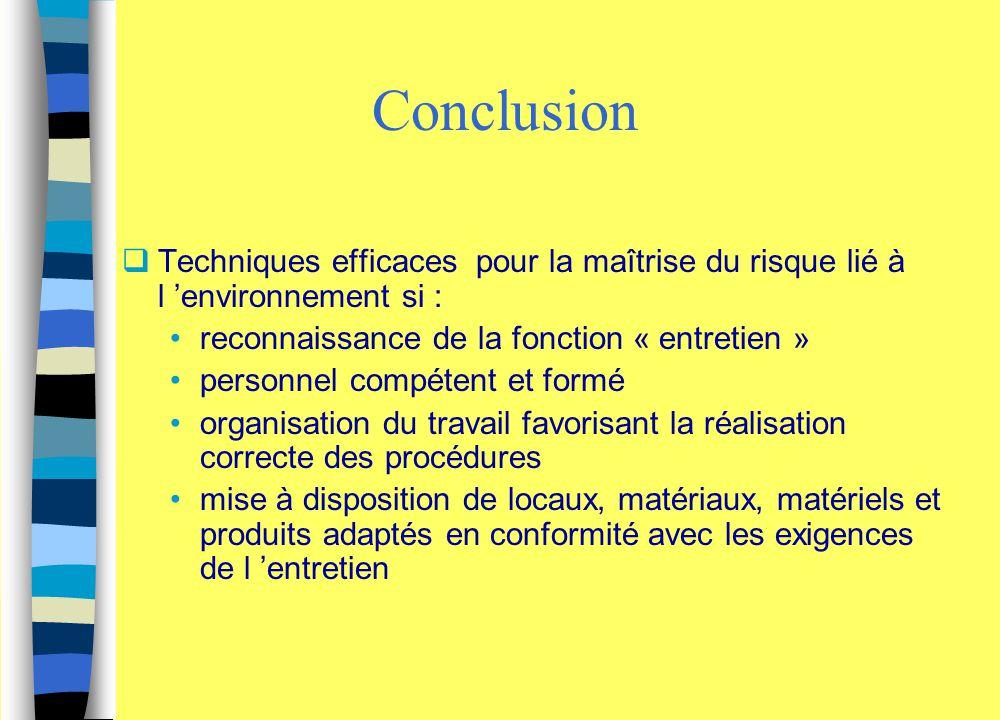 Conclusion Techniques efficaces pour la maîtrise du risque lié à l 'environnement si : reconnaissance de la fonction « entretien »