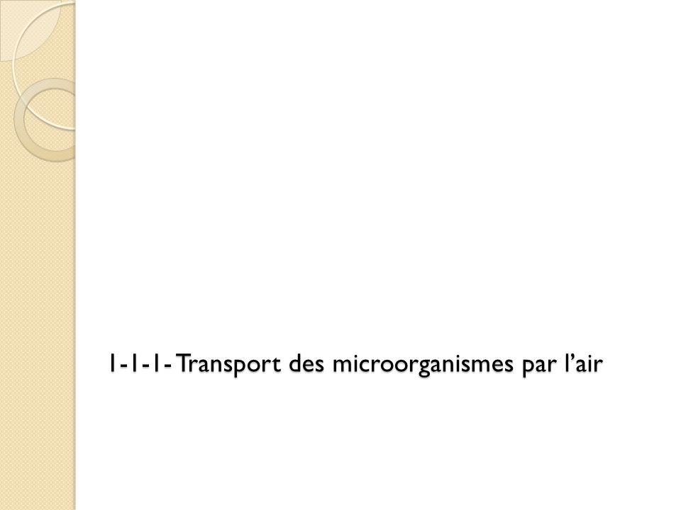1-1-1- Transport des microorganismes par l'air