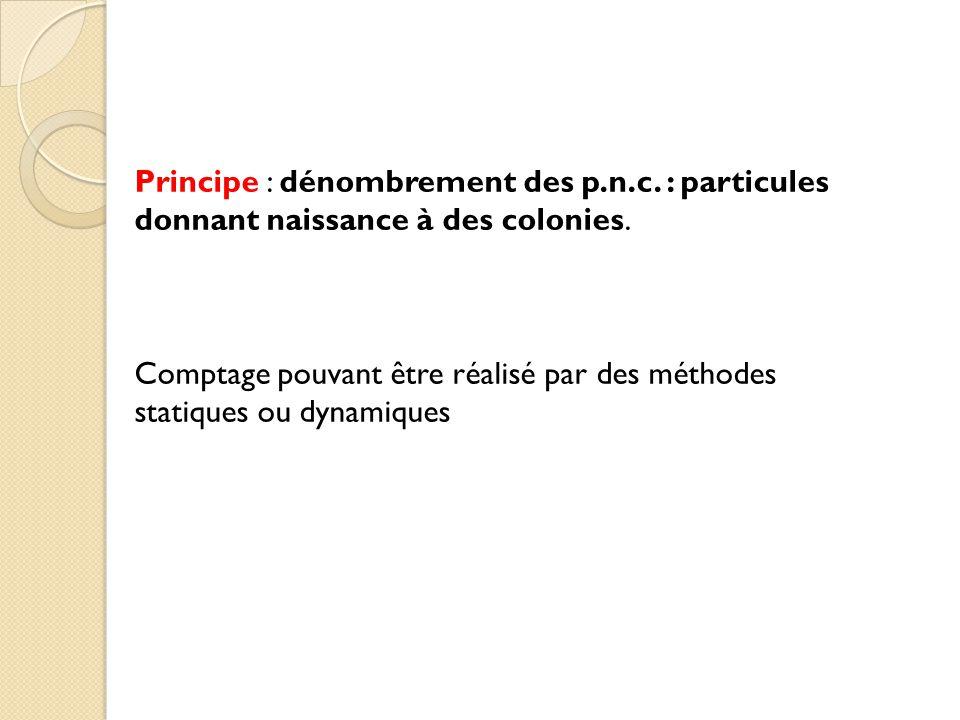 Principe : dénombrement des p. n. c
