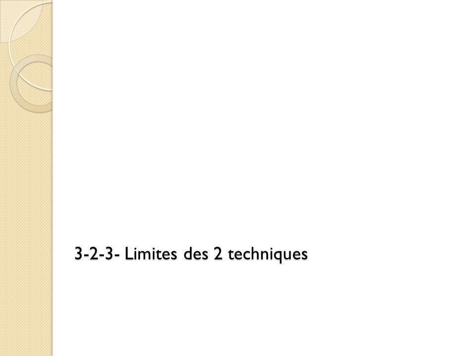 3-2-3- Limites des 2 techniques