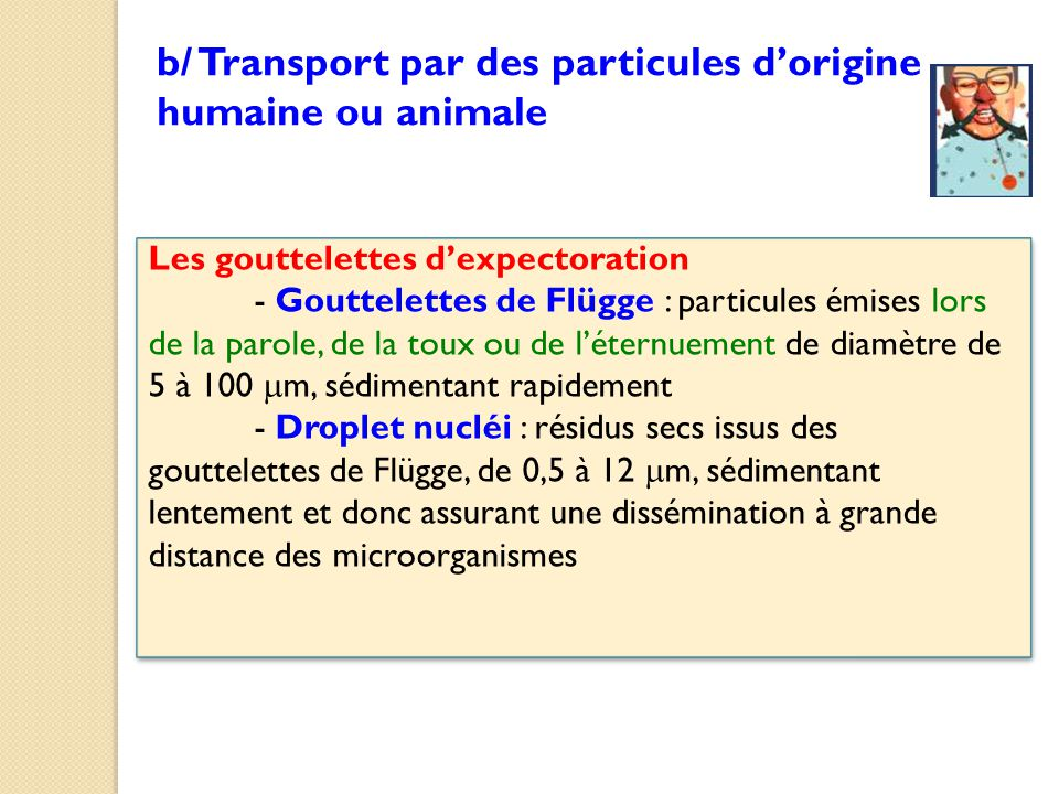 b/ Transport par des particules d'origine humaine ou animale