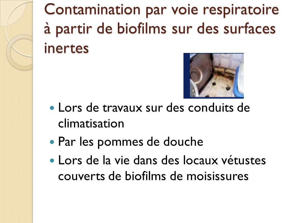 Contamination par voie respiratoire à partir de biofilms sur des surfaces inertes
