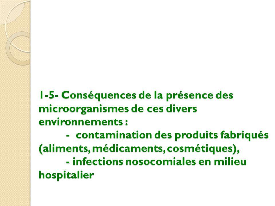 1-5- Conséquences de la présence des microorganismes de ces divers environnements : - contamination des produits fabriqués (aliments, médicaments, cosmétiques), - infections nosocomiales en milieu hospitalier