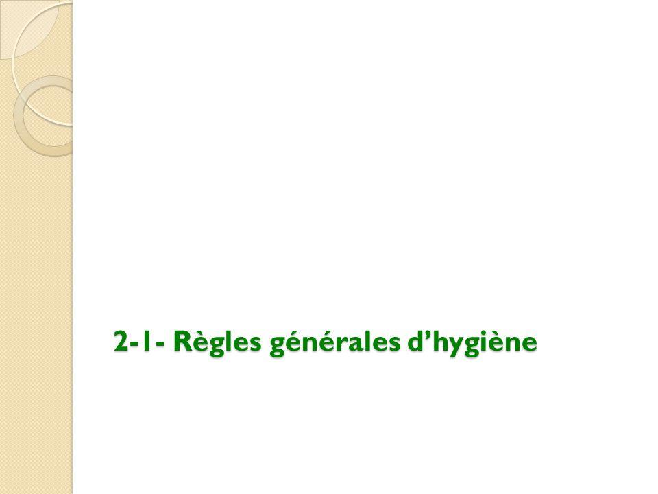 2-1- Règles générales d'hygiène